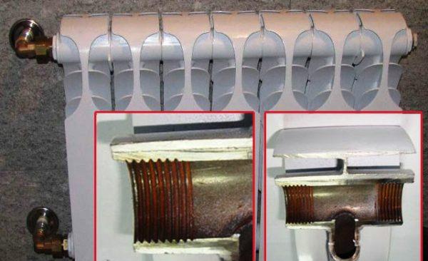 Внутриалюминиевый радиатор покрыт оксидной пленкой, что несет в себе как положительные качества, так и отрицательные.