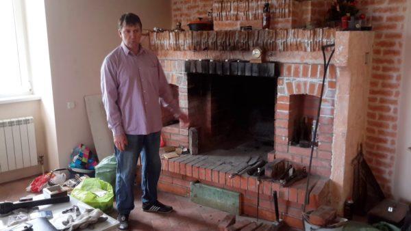 ремонт задней стенки камина